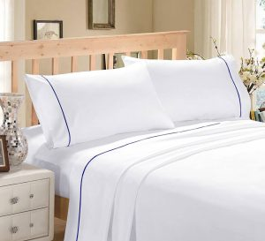 WHITE WITH BLUE MARROW FLAT SHEET SET