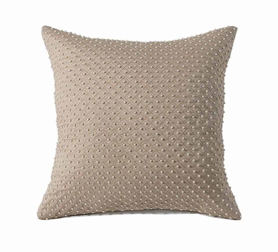 Fancy Beige Pearl Cushion Cover